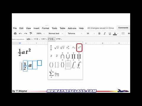 Equations (Equation Editor) in Google Docs