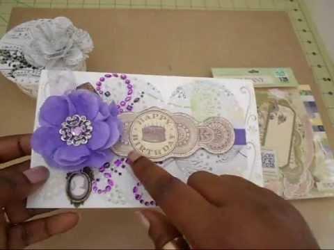 Handmade Card, Fabric Flowers and Trinket Box