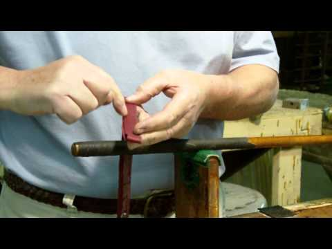 How to apply a leather wrap grip to a Hickory-shafted golf club.