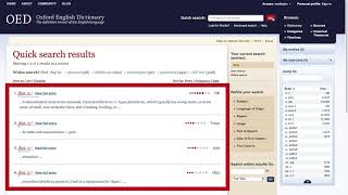 How-to use the OED | Quick search