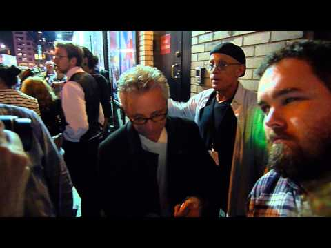 Frankie Valli and the Four Seasons signing autographs after his Broadway show