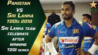 Sri Lanka team celebrate after winningT20I series in Lahore
