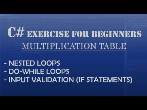 C# How to Program: Multiplication Table using C# Nested Loops, Do-While loops, and if Statements.