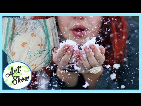 MAKE SNOW WITH DIAPERS / NAPPIES | messy cutie | Fatema's Art Show