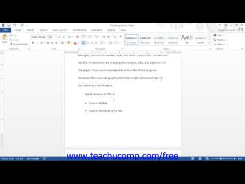 Word 2013 Tutorial Applying Bullets and Numbering Microsoft Training Lesson 15.1