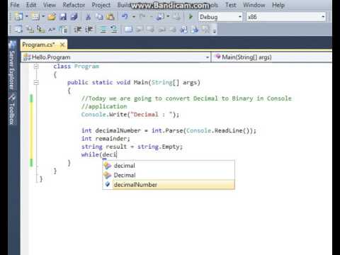 Converting Decimal to Binary in C#