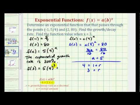 Ex:  Find an Exponential Function Given Two Points - Initial Value Not Given
