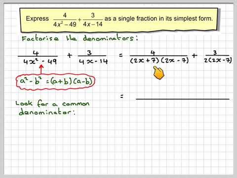 Writing an algebraic fraction as a single fraction