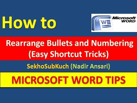 How to Rearrange Bullets and Numbering (Easy Shortcut Tricks) [Urdu / Hindi]