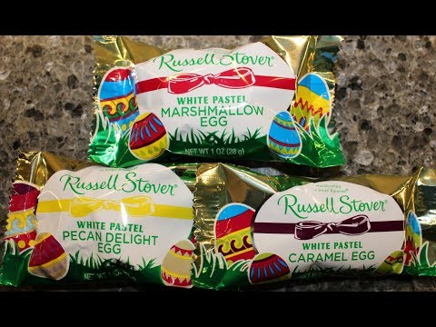 Russell Stover White Pastel Egg: Marshmallow, Pecan Delight & Caramel Review