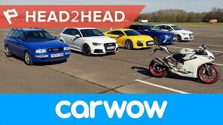 Mega Audi Drag Race: R8 v RS6 v RS3 v S1 v RS2 v Ducati 2017   Head2Head