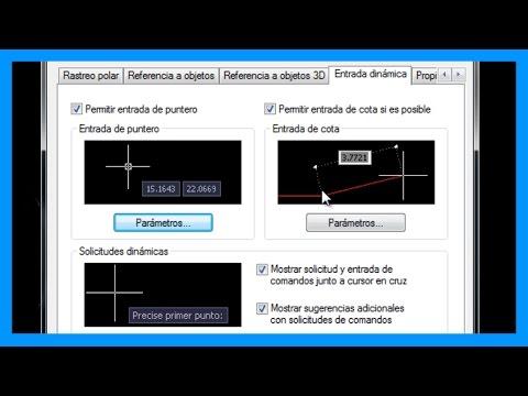 Autocad - Entradas dinámicas. Mostrar información junto al cursor de Autocad. Tutorial en español HD