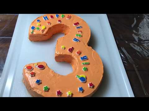 Number 3 Shape Birthday Cake-Step by step