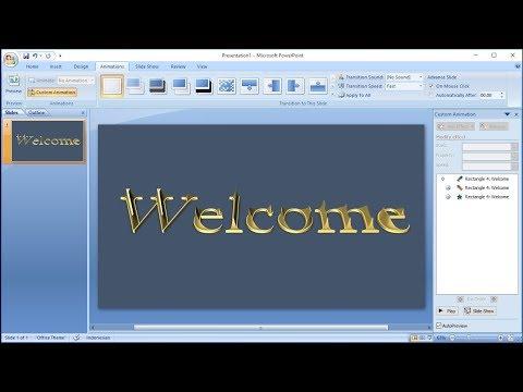 Tutorial powerpoint 2007 |Cara Membuat Animasi 3D Teks Word Art Efek Gold di Powerpoint