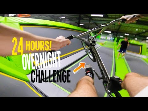 24 HOURS IN A TRAMPOLINE PARK! (BMX)