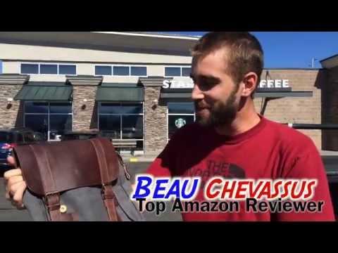 ★★★★★  DesertWolf Vintage Canvas Backpack - Genuine Leather Shoulder Bag - Amazon