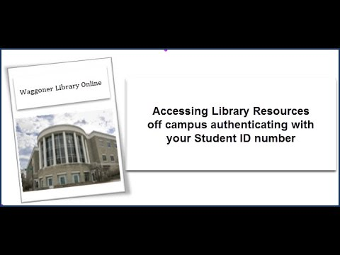Accessing Library Resources using your Student ID number