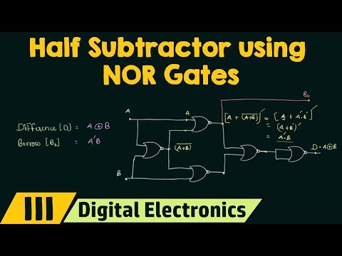 Realizing Half Subtractor using NOR Gates only
