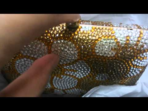 Yellow Gold Box Clutch Bag - Beaded Rhinestone Golden Crystal Evening Purse for Brides