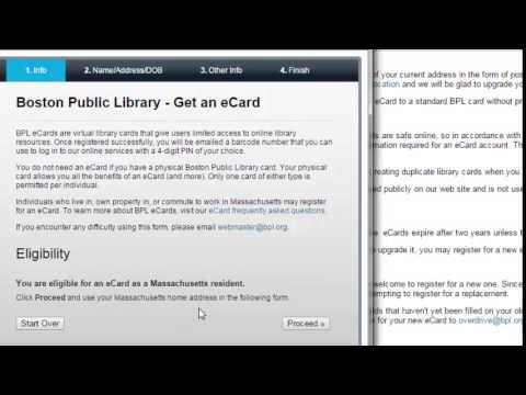 Requesting a Boston Public Library eCard
