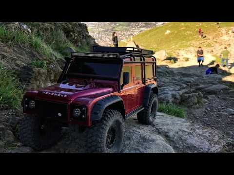 TRX-4 steep climb with Defender, Bronco and 4Runner bodies