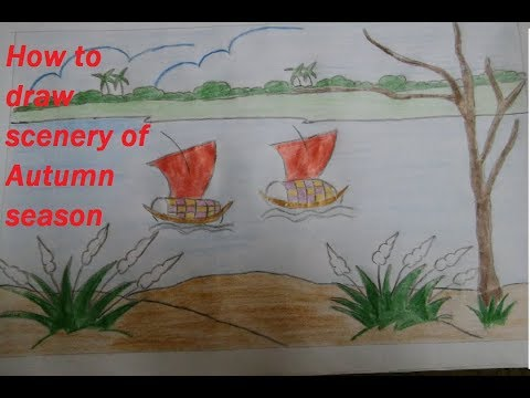How to draw scenery of Autumn season Step by step | Village Scenery Drawing Very Easy