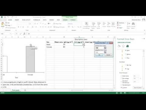 Custom error bars on Excel 2013 tutorial