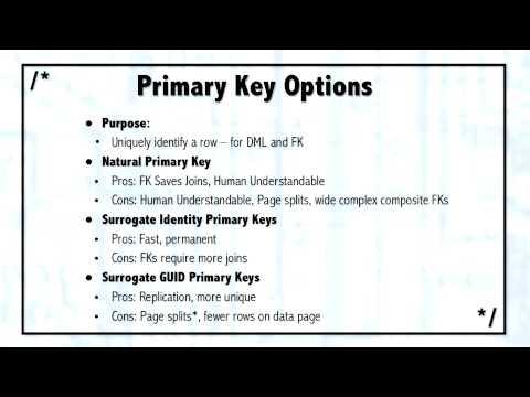 MS SQL Server 2005 Training Classes Primary Key Options C03 L05