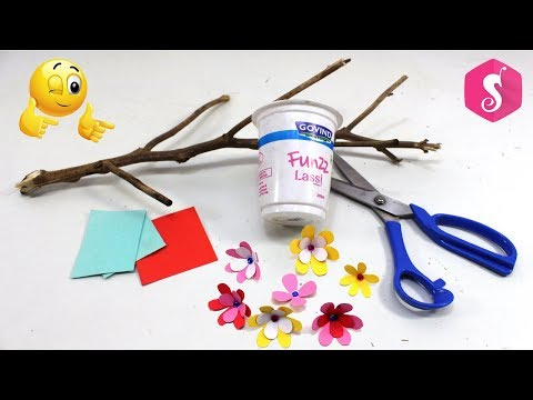 Paper Flowers Craft | Make Easy Wall ShowPiece from Dry Branches,Thermocol & IceCream Glass