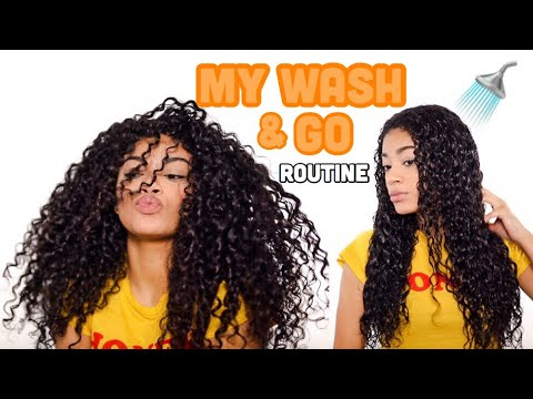 MY WASH AND GO ROUTINE! + Defined Curls | Natural Hair | jasmeannnn