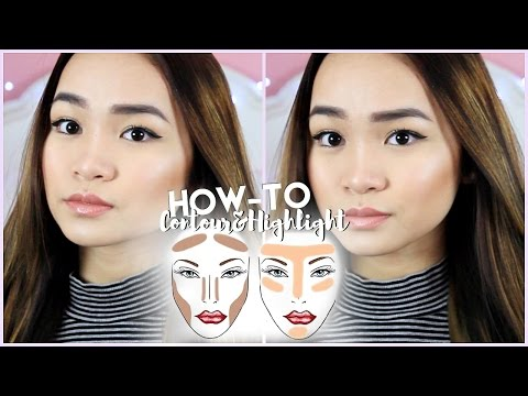 How To Contour & Highlight +Asian Dewy Skin Look // SLIMMER FACE