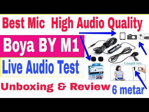 best mic for  mobile and dslr | boya by m1 live  test unboxing and review | best mic for youtuber