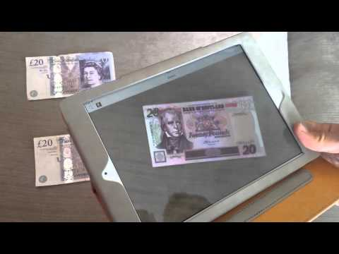 Changing English banknotes into Scottish with AR