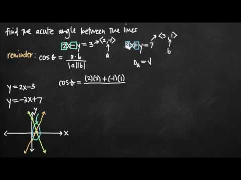 Acute angle between the lines (vectors) (KristaKingMath)