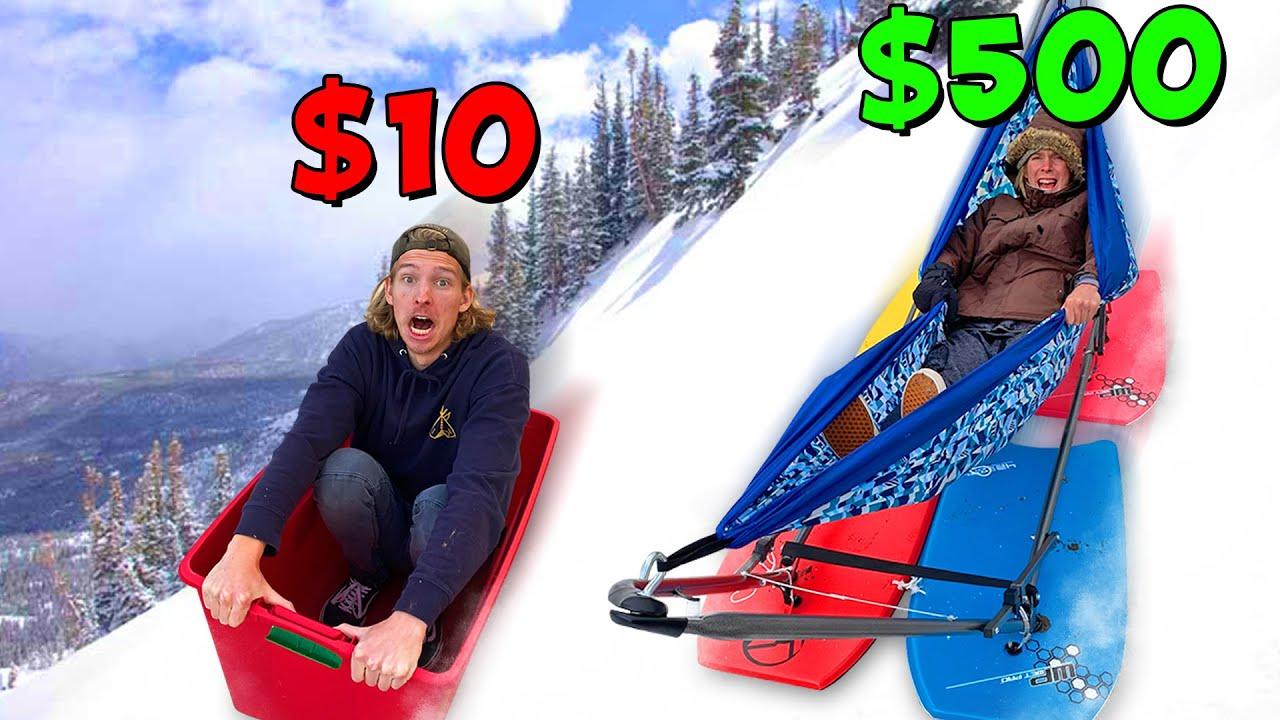 $10 vs $500 Snow Sleds! *BUDGET CHALLENGE*