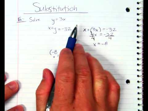 Solving a System with Substitution Ex1