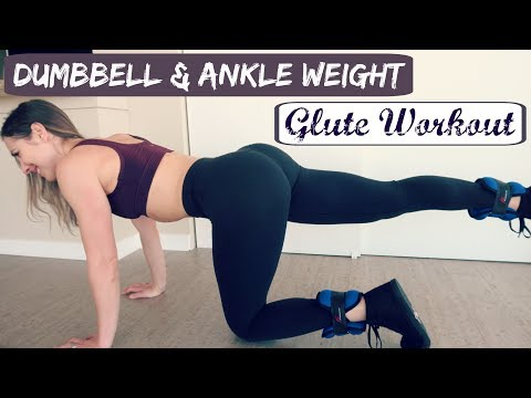 Minimal Equipment Glute Workout // Dumbbells + Ankle Weights