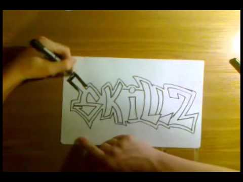 How to draw easy graffiti on paper (HQ)