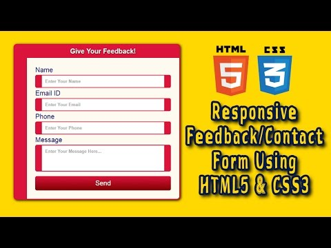 Responsive Contact/Feedback Form Design Using HTML5 & CSS3 | Web Design Tutorial | Part 1