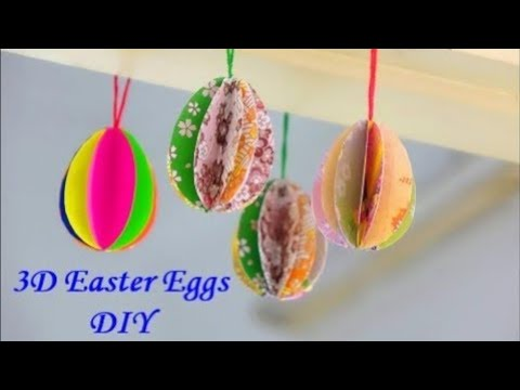 How to make 3D paper Easter Eggs Very easily ~ DIY Easter Decor ~ Tutorial/Instructions...