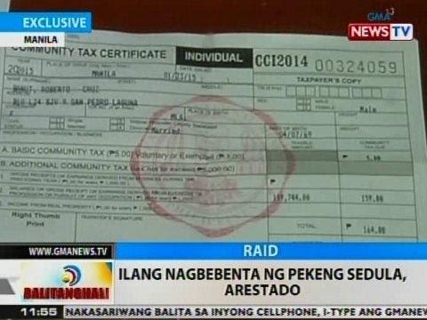 BT: Ilang nagbebenta ng pekeng cedula sa Maynila, arestado
