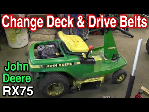 How To Change The Deck And Drive Belts On A John Deere RX75 Riding Mower with Taryl
