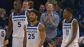 Derrick Rose Brings The Timberwolves Crowd  To Their Feet with Acrobatic Layups!