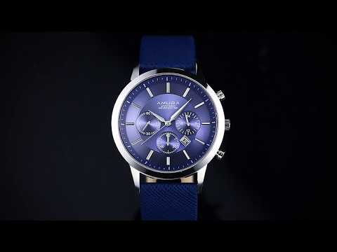 AMUDA  Men's Casual Watches Blue Leather Strap Waterproof  Quartz Wrist Watch with Calendar
