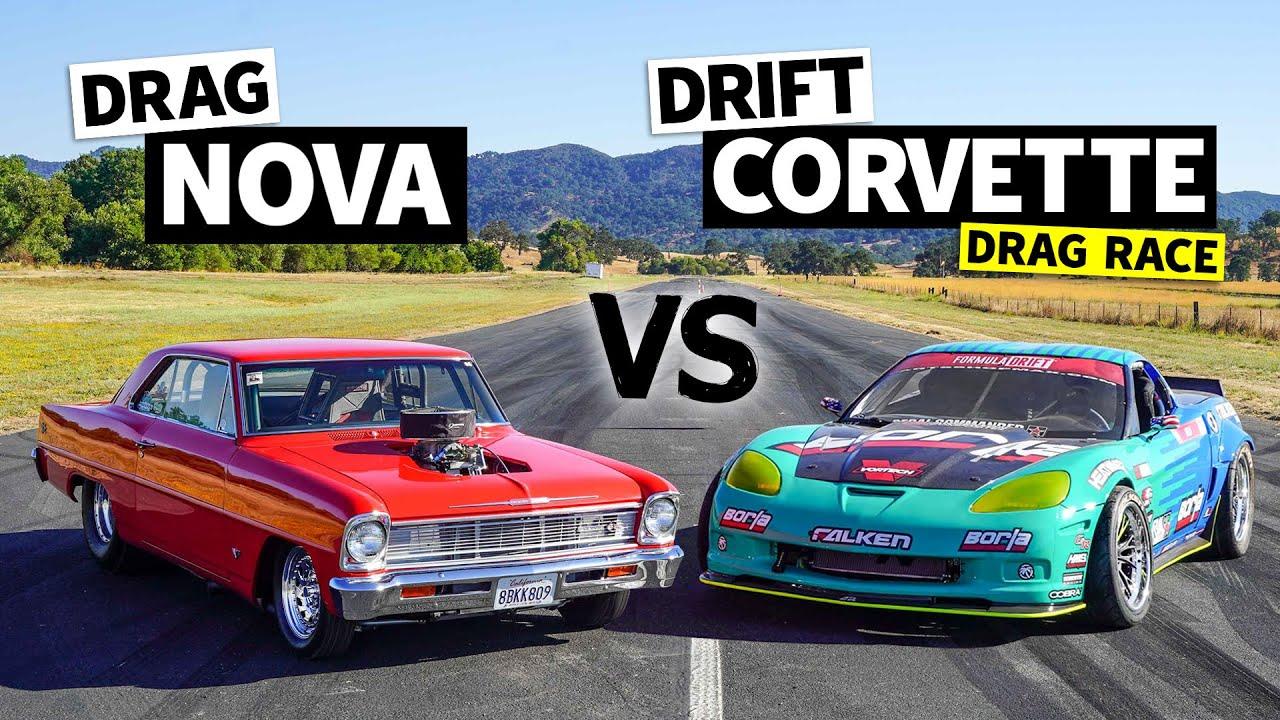'66 Big Block Nova  vs. 950hp Corvette (Drift vs. Drag Battle) // This vs. That