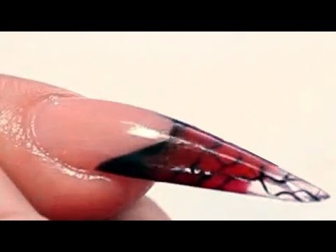 Burlesque Themed Long Stiletto Acrylic Nail Video Tutorial by Naio Nails