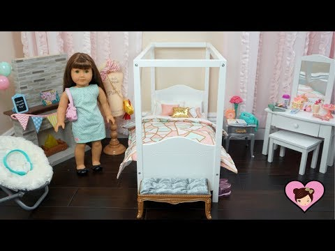 Baby Doll Bedroom Set Up for American Girl Room -  Toy Furniture & Accesories