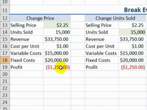 Perform a Break Even Analysis with Excel's Goal Seek Tool
