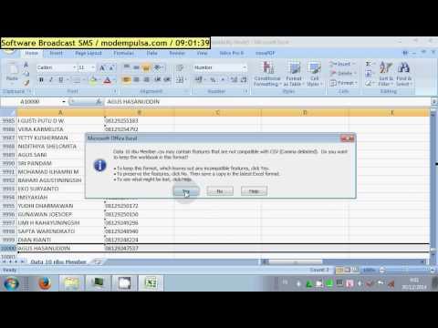 Software SMS - Convert File Format EXCEL XLS ke CSV Delimited