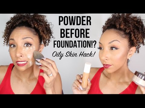 Applying Powder BEFORE Foundation! Oily Skin Makeup Hack! Does it work?? | BiancaReneeToday
